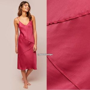 Anthropologie Dresses - NWT ANTHROPOLOGIE Rosalina Raspberry Slip Dress